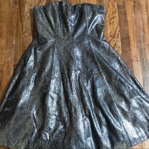 Strapless metallic Tracy Reese party dress
